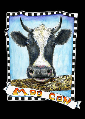 Poster featuring the drawing Moo Cow In Black by Retta Stephenson