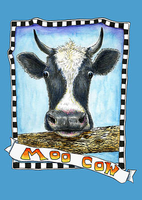 Poster featuring the drawing Moo Cow In Blue by Retta Stephenson