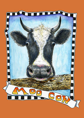 Poster featuring the painting Moo Cow In Orange by Retta Stephenson