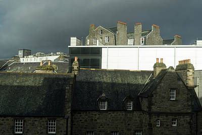 Moody Aberdeen Rooftops - Storm Clouds And Multi-flue Chimneys Poster
