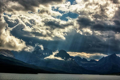 Moody Sunrays Over Glacier National Park Poster