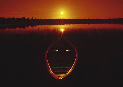 Moody Sunrise Lake Scene With Cedar Canoe Poster