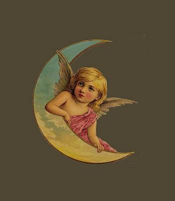 Poster featuring the digital art Moon Angel T Shirt Design by Bellesouth Studio