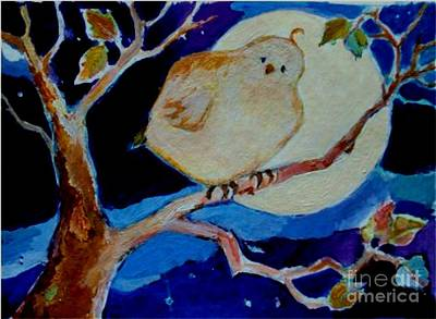 Poster featuring the painting Moon Bird by Diane Ursin