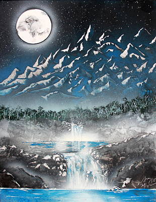 Poster featuring the painting Moon Falls by Greg Moores