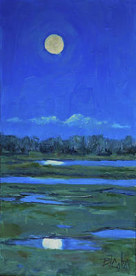Poster featuring the painting Moon Light And Mud Puddles by Billie Colson