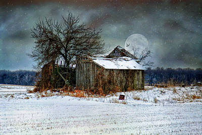Poster featuring the photograph Moon Light Barn by Mary Timman