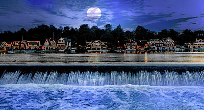 Moon Light - Boathouse Row Philadelphia Poster by Bill Cannon