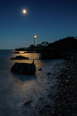 Poster featuring the photograph Moon Light Over The Lighthouse  by Emmanuel Panagiotakis