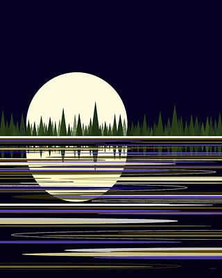 Poster featuring the digital art Moon Lit Water by Val Arie