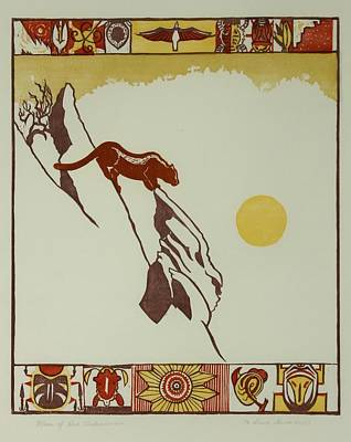 Poster featuring the drawing Moon Of Red Chokecherries by Dawn Senior-Trask