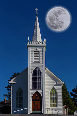 Moon Over Bodega Church Poster by Garry Gay