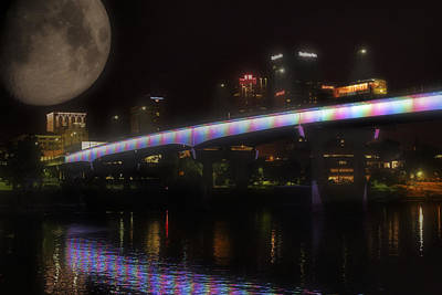 Moon Over Downtown Little Rock - Arkansas - Luna Poster by Jason Politte