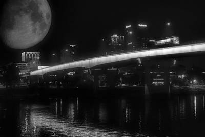Moon Over Downtown Little Rock - Black And White - Arkansas Poster by Jason Politte