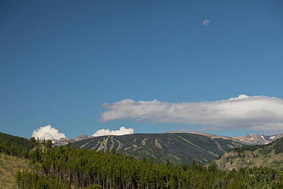Poster featuring the photograph Moon Over Eldora Summer Season Ski Slopes by James BO Insogna