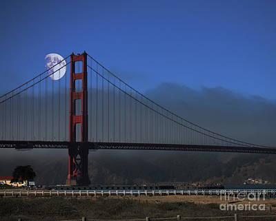 Moon Over Foggy Golden Gate Bridge Poster by Wingsdomain Art and Photography
