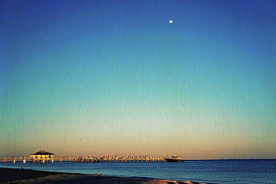 Moon Over Fort Desoto Poster by Laurie Perry