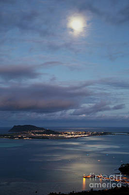 Moon Over Kaneohe Bay Poster by Charmian Vistaunet