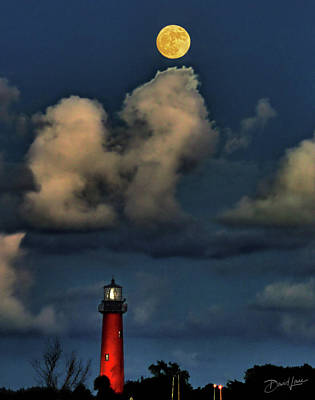 Moon Over Lighthouse Poster