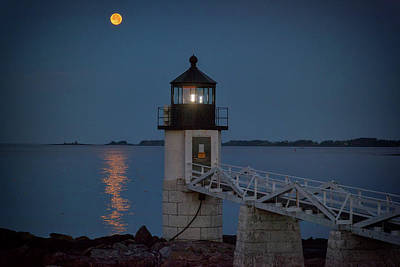 Poster featuring the photograph Moon Over Marshall Point by Rick Berk