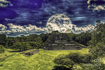 Moon Over Mayan Temple Two Poster by Ken Frischkorn