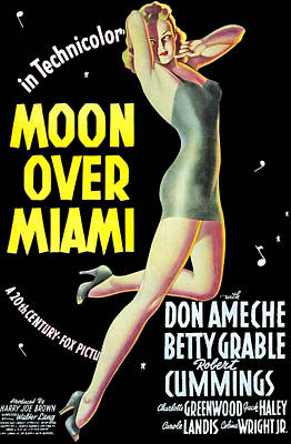 Moon Over Miami, Betty Grable, 1941 Poster by Everett
