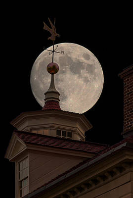 Moon Over Mount Vernon Poster by Ed Clark