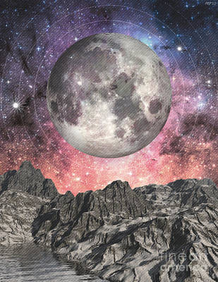 Poster featuring the digital art Moon Over Mountain Lake by Phil Perkins