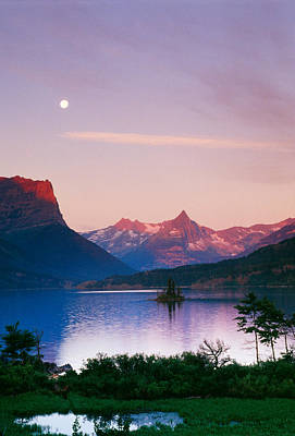 Moon Over Mountains And Saint Marys Lake Poster by Panoramic Images