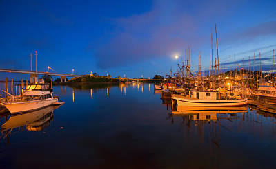 Moon Over Sitka Marina Poster by Mike  Dawson
