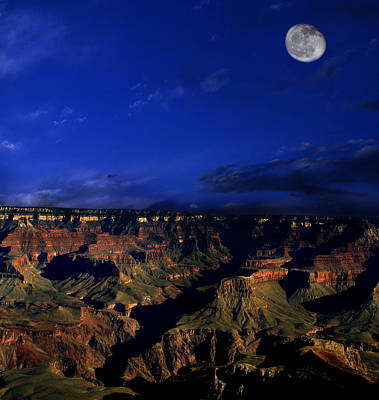 Moon Over The Canyon Poster by Anthony Jones