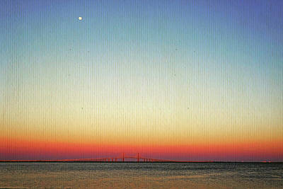 Moon Over The Skyway Poster by Laurie Perry