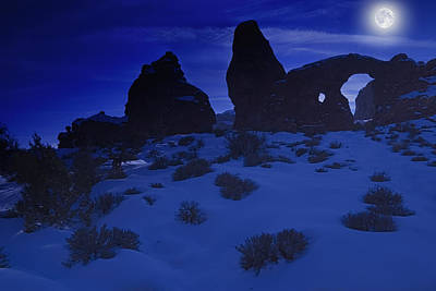 Moon Over Turret Arch Poster by Utah Images