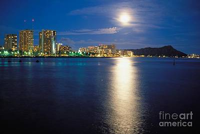 Moon Over Waikiki Poster by Mary Van de Ven - Printscapes