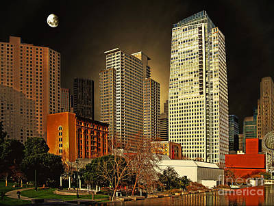 Moon Over Yerba Buena Gardens San Francisco Poster by Wingsdomain Art and Photography