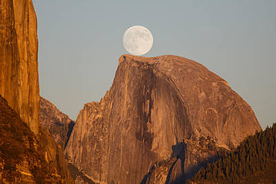 Moon Rise Over Half Dome Poster by Jeff Sullivan