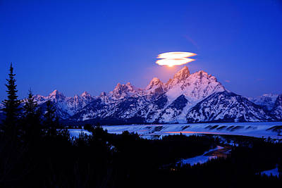 Moon Sets At The Snake River Overlook In The Tetons Poster by Raymond Salani III