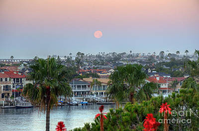 Poster featuring the photograph Full Moon Setting In Corona Del Mar by Eddie Yerkish