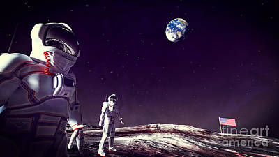 Poster featuring the digital art Moon Walk by Methune Hively