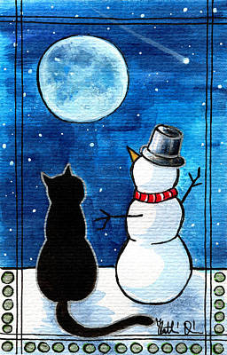 Moon Watching With Snowman - Christmas Cat Poster