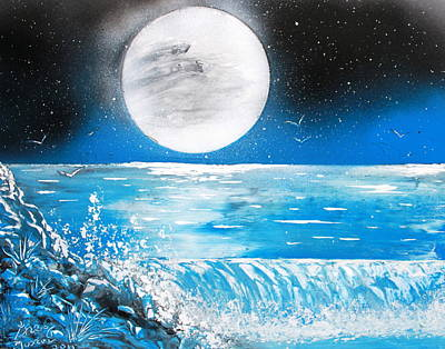 Poster featuring the painting Moon Wave by Greg Moores