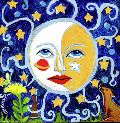 Poster featuring the painting Moonface With Wolf And Stars by Genevieve Esson