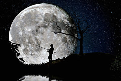 Moonlight Fishing Under The Supermoon At Night Poster by Justin Kelefas