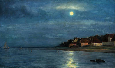 Moonlight. Hellebaek Poster by Carl Heinrich Bloch