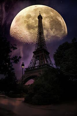 Moonlight In Paris Poster by John Rivera