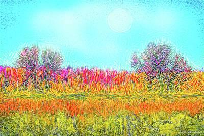 Poster featuring the digital art Moonlight On Golden Fields - Boulder County Colorado by Joel Bruce Wallach