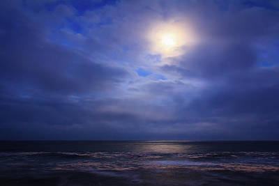 Moonlight On The Ocean At Hatteras Poster