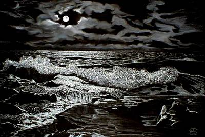 Moonlight On The Rocks Poster by Ron Chambers