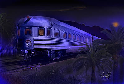 Moonlight On The Sante Fe Chief Poster by J Griff Griffin