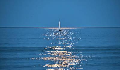 Moonlight Sail 2 - Ogunquit Beach - Maine Poster